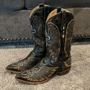 Black winged cross CORRAL cowboy western boots 11